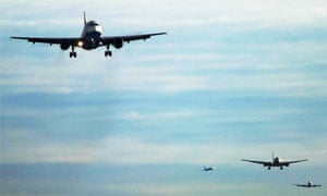 Flights arrive at Heathrow airport, London, UK