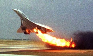 The doomed Air France Concorde flight 4590 on fire as it takes off from Paris