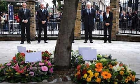 Boris Johnson and Tessa Jowell at a commemoration of three years since the London July 7 bombings