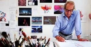 Cartoonist Gerald Scarfe in his studio at his home