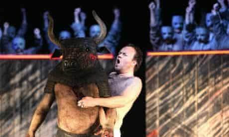 John Tomlinson (The Minotaur) and Johan Reuter (Theseus) in The Minotaur by Harrison Birtwistle at the Royal Opera House