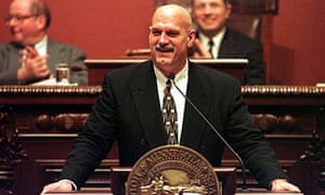 In this 1999 file photo, then-Minnesota governor Jesse Ventura presents his first state of the state address at the state capitol in St Paul. Photograph: Tom Olmscheid/AP