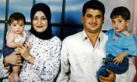 An family photograph of Baha Mousa with his wife and two children