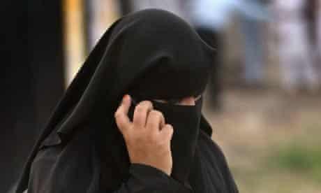 A woman in a burqa