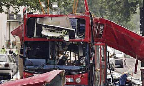 The destroyed number 30 bus in Tavistock Square, central London, after the July 7 2005 attacks