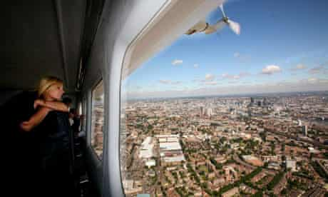 The Stella Artois airship 'Star Over London' flies over London