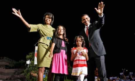 Barack Obama with his family. Photograph: Chip Somodevilla/Getty Images