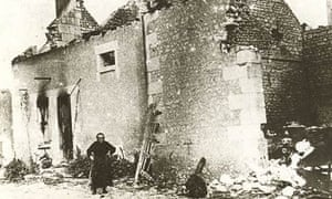 The village of Maille after the massacre of civilians by Germans soldiers in August 1944