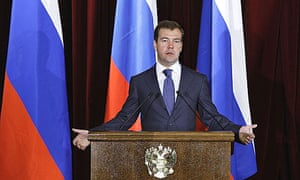 Russian president Dmitry Medvedev speaks at the foreign ministry in Moscow, during a meeting with Russian ambassadors to countries around the world.