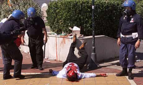 injured protester in genoa