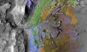 This image shows a color-enhanced image of the delta in Jezero Crater on Mars, which once held a lake