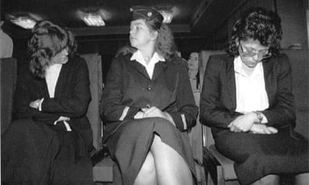 Irene Leidolf (l) and Waltraud Wagner (r) lower their heads before a court appeal in 1992