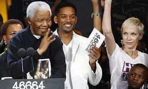 Nelson Mandela at the star-studded Hyde Park concert in his honour last month