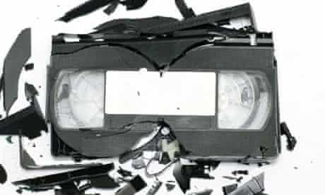 A smashed VHS videotape