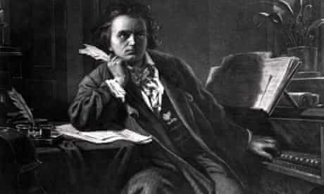 Painting by Hermann Junker of Ludwig van Beethoven composing at a piano