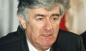 The then Bosnian Serb leader Radovan Karadzic speaks at a press conference on October 20 1995 in Novi Grad