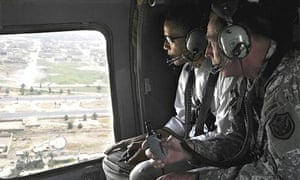 The commander of US forces in Iraq, David Petraeus, describes Baghdad to visiting Barack Obama as they fly from the airport to the Green Zone in a helicopter
