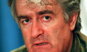 The then Bosnian Serb leader Radovan Karadzic during a press conference in Banja Luka in October 5 1995