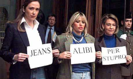 Italian women MPs protesting against jeans verdict