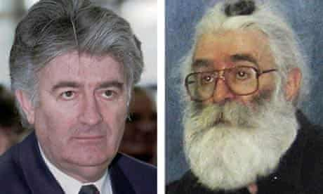 This picture combination shows: on the left, the then Bosnian Serb leader Radovan Karadzic in April 1996, and on the right, Karadzic as he looks now