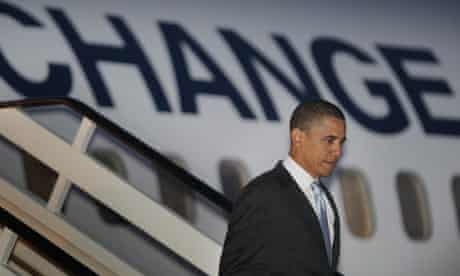 Barack Obama arrives at Heathrow airport