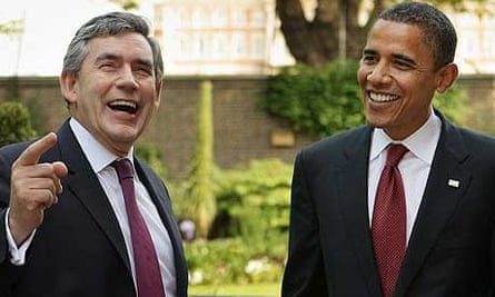 Gordon Brown and Barack Obama in the Downing Street garden