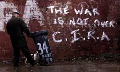 Graffiti from the Continuity Irish Republican Army (CIRA) on an alley wall in West Belfast