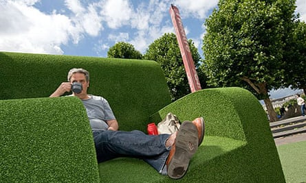 Stephen Moss on giant green chair