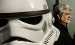 Star Wars director George Lucas with a stormtrooper
