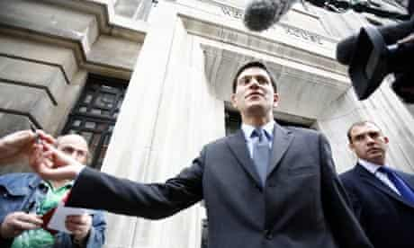 David Miliband leaves a radio interview with Jeremy Vine