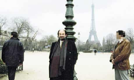 Salman Rushdie with bodyguards. He went into hiding after a threat to his life