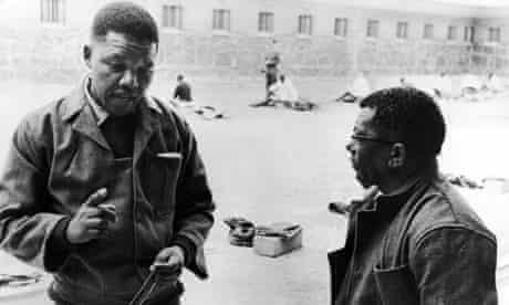 Nelson Mandela and Walter Sisulu on Robben Island in 1966