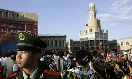 Aitigar Square during the Olympic torch relay in Kashgar
