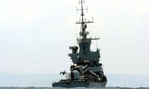 An Israeli warship