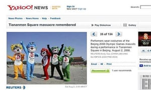 A screengrab of a photo gallery on the Yahoo! News site which had the unfortunate headline 'Tiananmen Square massacre remembered' on pictures of the ongoing Olympic festivities