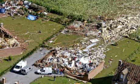 Ruins of houses after a tornado hit Hautmont, northern France