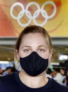 A US Olympic cyclist arrives in Beijing yesterday. Officials may relocate endurance events if smog levels become dangerous