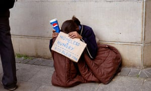 Young person homeless hungry and begging in London