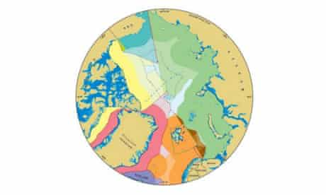 A map showing the martime jurisdiction and boundaries in the Arctic region