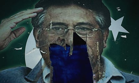 A photo of Pakistani president Pervez Musharraf is seen partially torn down at a water plant on the outskirts of Islamabad.