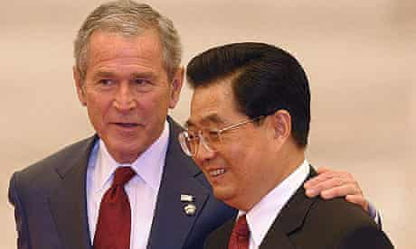 George Bush with Chinese president Hu Jintao in the Great Hall of the People in Beijing.