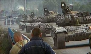 Tanks said to be Russian are shown on television rolling through South Ossetia