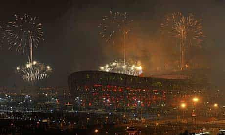 Fireworks over Beijing during the Olympics opening ceremony