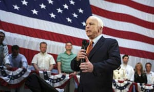 Republican presidential candidate John McCain speaks during a town hall meeting Monday, Aug. 11 at the GE Transportation Erie Plant in Erie, Pa.  Photograph: Mary Altaffer/AP
