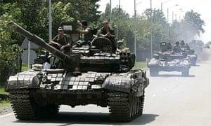 Russian tanks near the Georgian city of Zugdidi