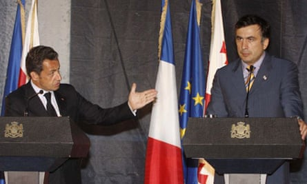 French President Nicolas Sarkozy and Georgian President Mikhail Saakashvili during a press conference following their talks in Tbilisi