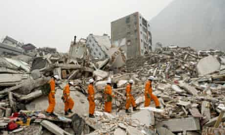 Rescue workers among the rubble of Beichan in Sichuan