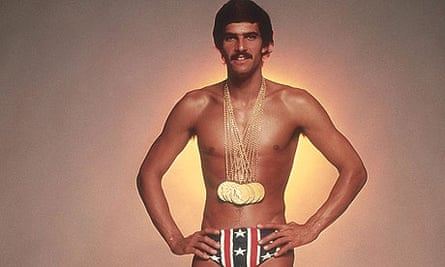 Mark Spitz with the seven gold medals which he won at the 1972 Munich Olympic Games.