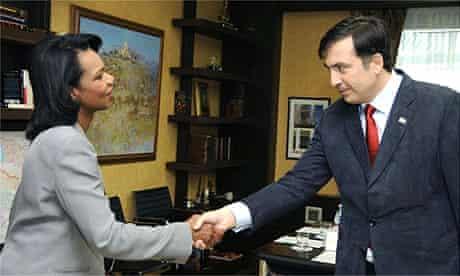 The US secretary of state, Condoleezza Rice, and Georgia's president, Mikheil Saakashvili, in Tbilisi