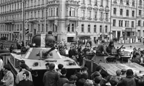 A Soviet tank moves into Prague in 1968